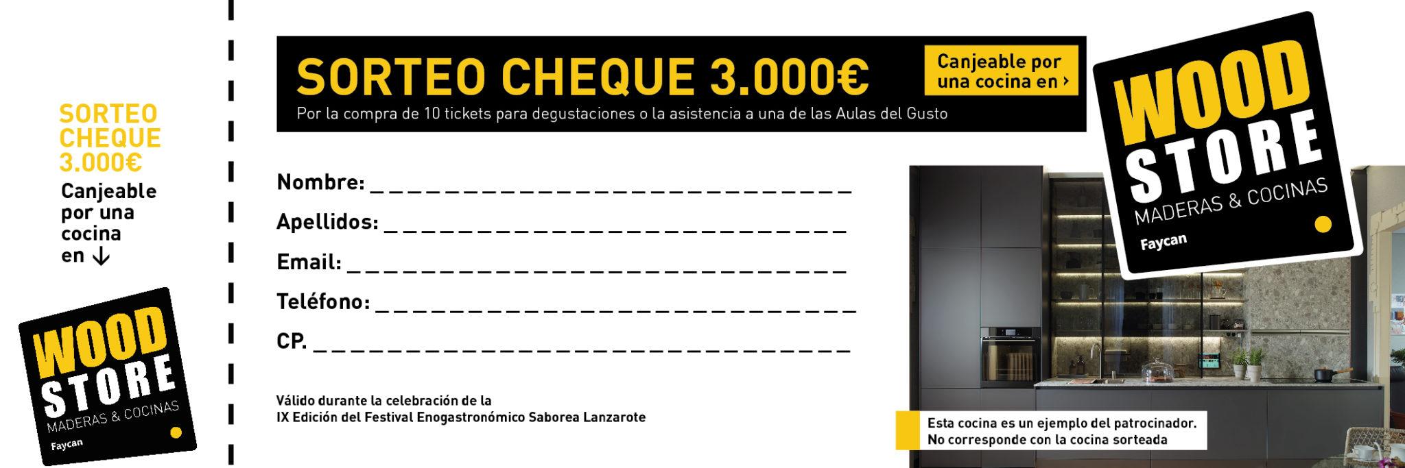 Sorteo de cheque regalo de 3.000 € en Saborea Lanzarote con Wood Store